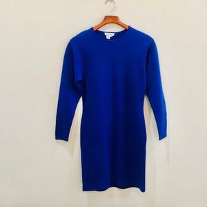 Vtg ANN TAYLOR blue bodycon dress size S